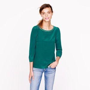NWOT J. Crew emerald green silk scallop blouse